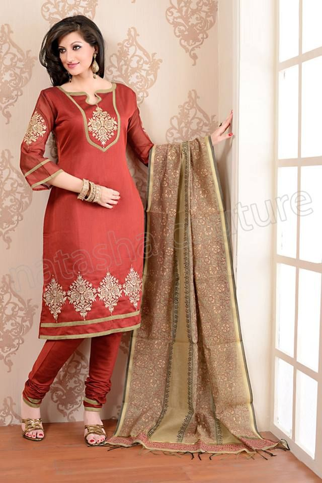 Natasha Couture Red Cotton Silk Patch Worked Salwar Kameez - StyleHoster   StyleHoster