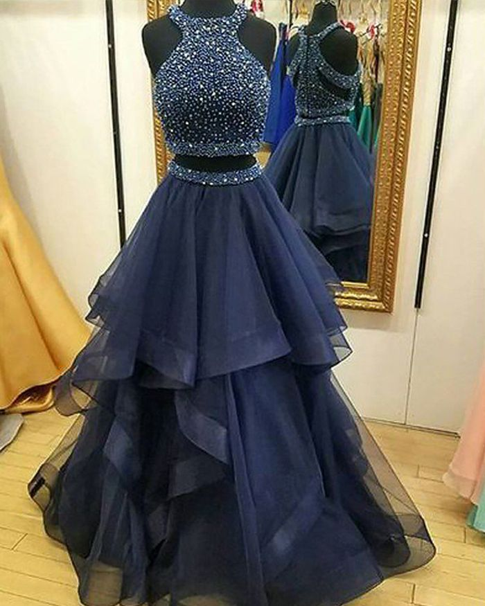c666cfda3f2 High Neck Two Piece Beading Bodice Tulle Navy Blue Prom Dress PM1122 ...