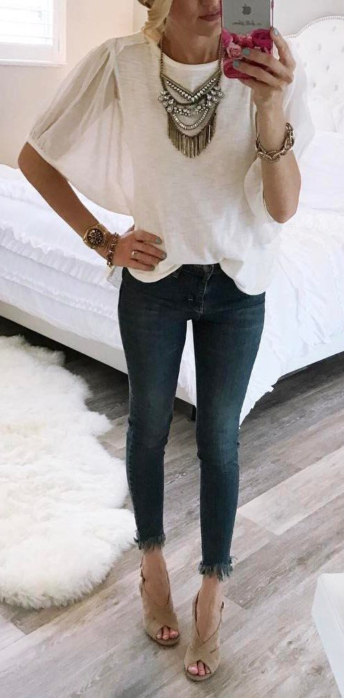 #spring #outfits White Top + High Waisted Frayed Hem Jeans