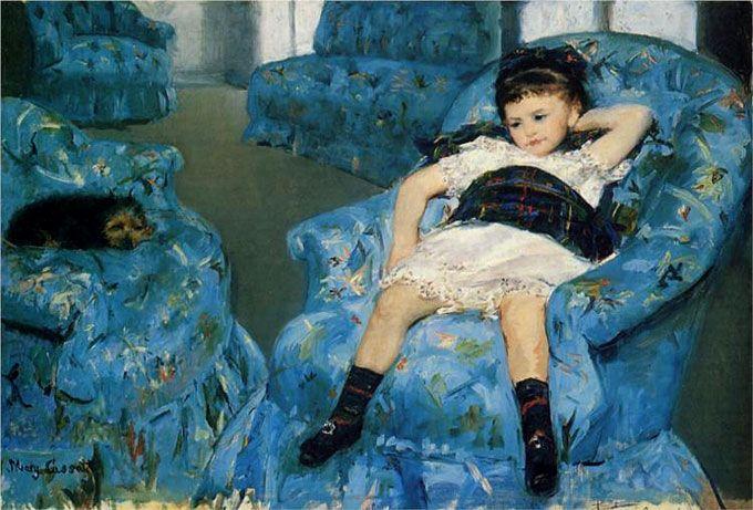 Мэри Кассат. Девочка в синем кресле. 1878 г.