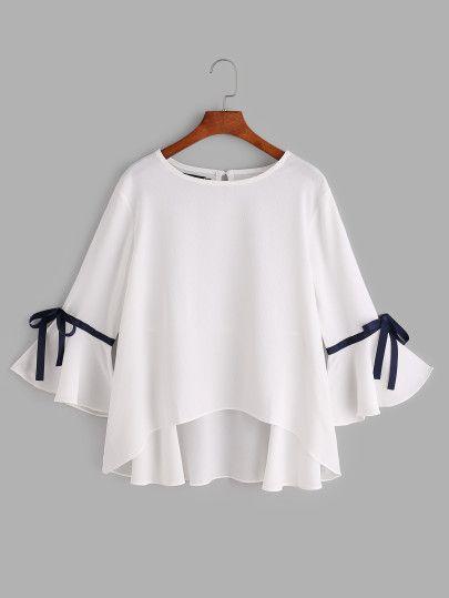 White Bell Sleeve Bow Tie Dip Hem Blouse