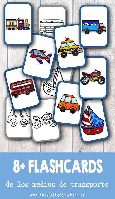 Tarjetas de vocabulario de los medios de transporte imprimibles gratis
