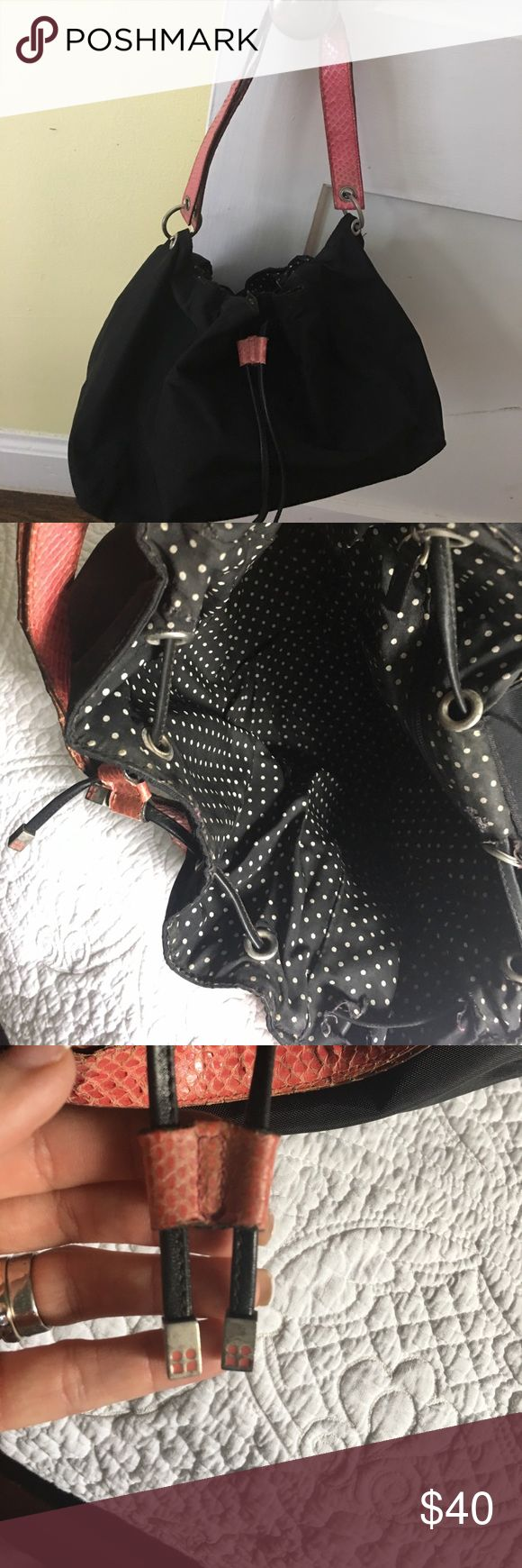 Kate Spade Drawstring Shoulder Bag So cute!  Used!  Will clean up well in the wash!  Cute polka dot interior!  AUTHENTIC kate spade Bags Shoulder Bags