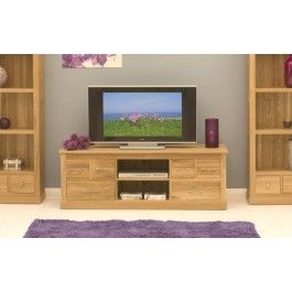 Mobel Oak Solid Oak Widescreen Television Cabinet