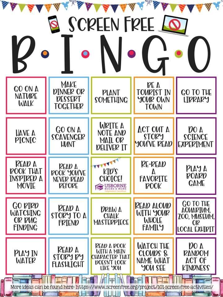 Screen Free Week Bingo Challenge Screen Free Week Screen Free