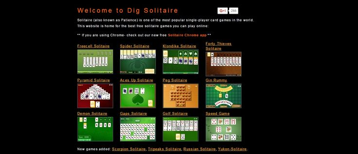 Enjoy playing solitaire online at The Dig Solitaire. Find the best free online solitaire games, including Classic Solitaire, Freecell Solitaire, Spider Solitaire, Klondike Solitaire, Pyramid Solitaire etc.