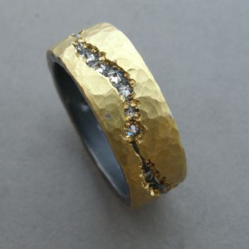 Todd Pownell: , Eternity band in 18k yellow gold, oxidized sterling silver, and 30 inverted diamonds.