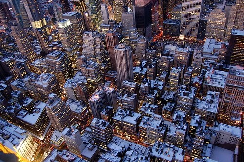 Snow capped New York City