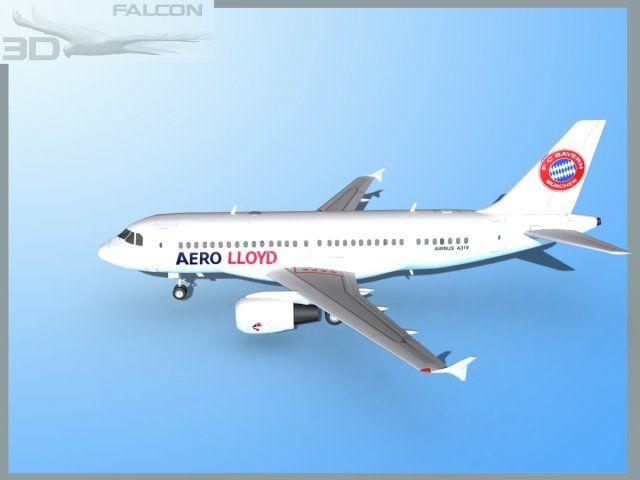3D Model Falcon3D A319 Aero Lloyd c4d, obj, 3ds, fbx, ma, lwo 67614
