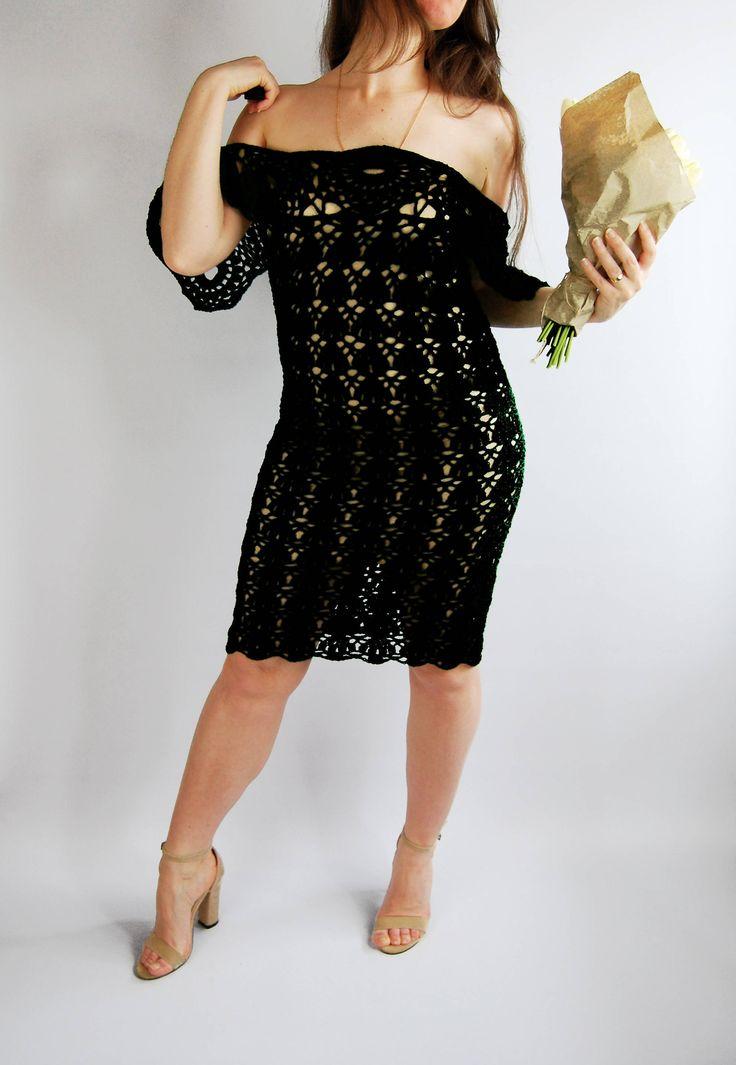 UNIQUE Crochet Dress. Wing sleeve dress. Wedding Dress. Open Shoulder Dress. Mermaid Dress. Boho crochet dress. Lace Sexy Dress. Bohemian by NinElDesign on Etsy