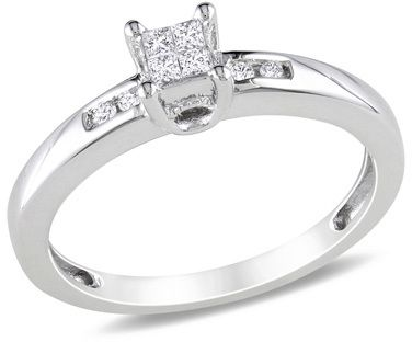 Pledge your love and affection with this precious diamond promise ring. Fashioned in sleek sterling silver, a quartet of princess-cut diamonds is arranged in a squared frame at the center. Shimmering round accent diamonds grace the ring's shank, adding extra sparkle. {affiliate link}