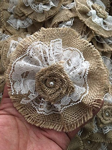 Handmade Burlap Roses Flowers with Lace DIY Pack of 10 -- Visit the image link more details. (Note:Amazon affiliate link)