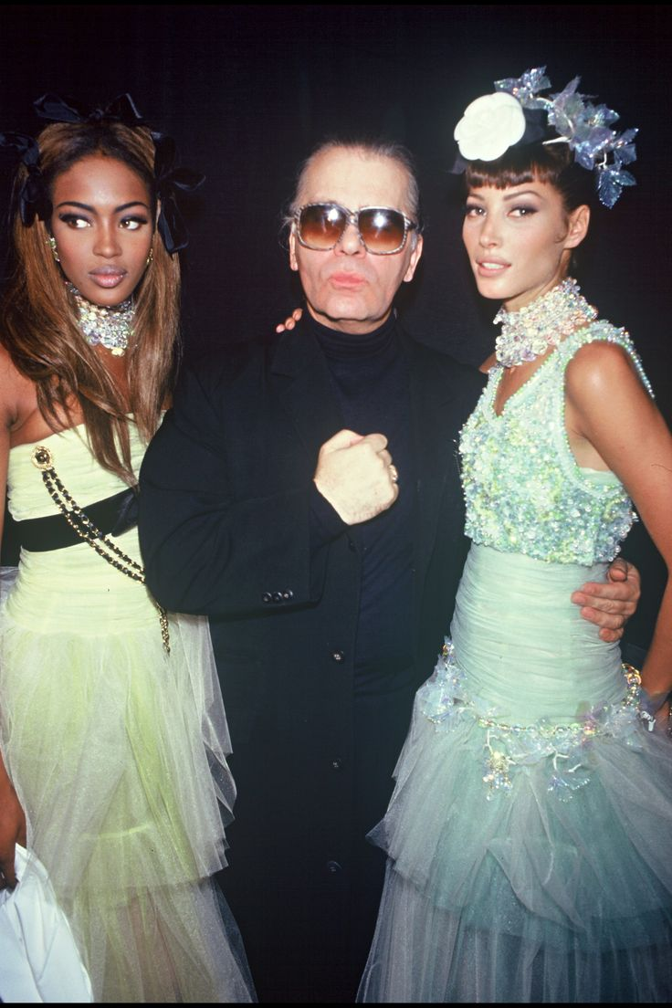 Naomi Campbell, Karl Lagerfeld, and Christy Turlington