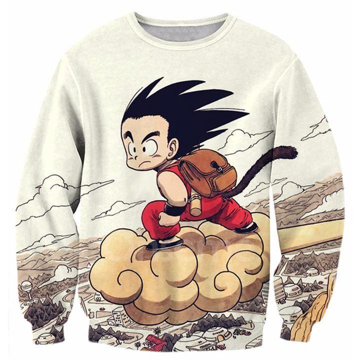Dragon Ball Kid Goku Flying Nimbus Long Sleeved Shirt Kid Goku Long Sleeve Outerwear Printed Sweatshirts