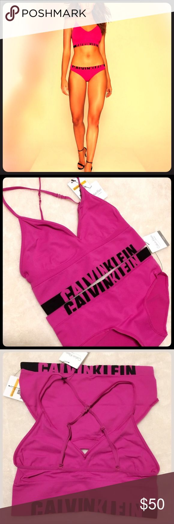 cK Long Line Bralette hipster bikini panty set NWT Authentic Calvin Klein Long Line multiway convertible Bralette. Fully adjustable. Matching bikini logo underwear. Please see other listings for more sizes and styles.  Thanks:) :) Calvin Klein Intimates & Sleepwear