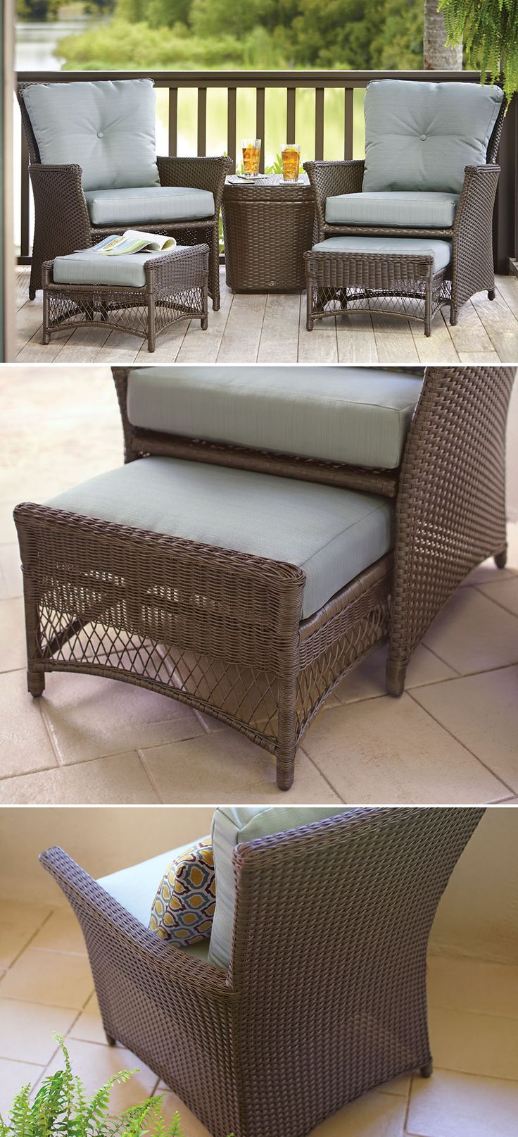 This affordable patio set is just the right size for your small patio, balcony or porch. It includes two stationary chairs, cushions, two lumbar pillows, two nested ottomans and a side table. The table offers ample storage, too.