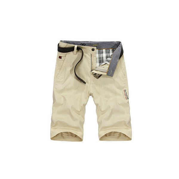 AFSJEEP s Summer Cotton Linen Solid Color Knee Length Casual Shorts ($26) ❤ liked on Polyvore featuring men's fashion, men's clothing, men's shorts, khaki, men pants & shorts shorts, mens summer shorts, mens khaki shorts, mens clothing, mens shorts and mens sport shorts