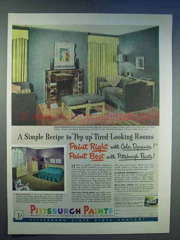 1950 Pittsburgh Paints Ad Pep Up Tired Looking Rooms Painting Pittsburgh Room Paint