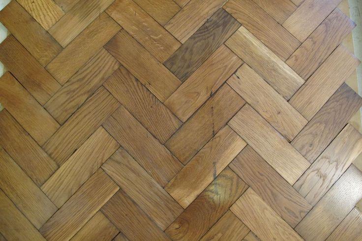 Reclaimed English oak herringbone parquet flooring