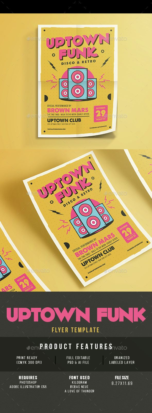 Uptown Funk Music Party — Photoshop PSD #alternative #sound • Available here → https://graphicriver.net/item/uptown-funk-music-party/14816447?ref=pxcr