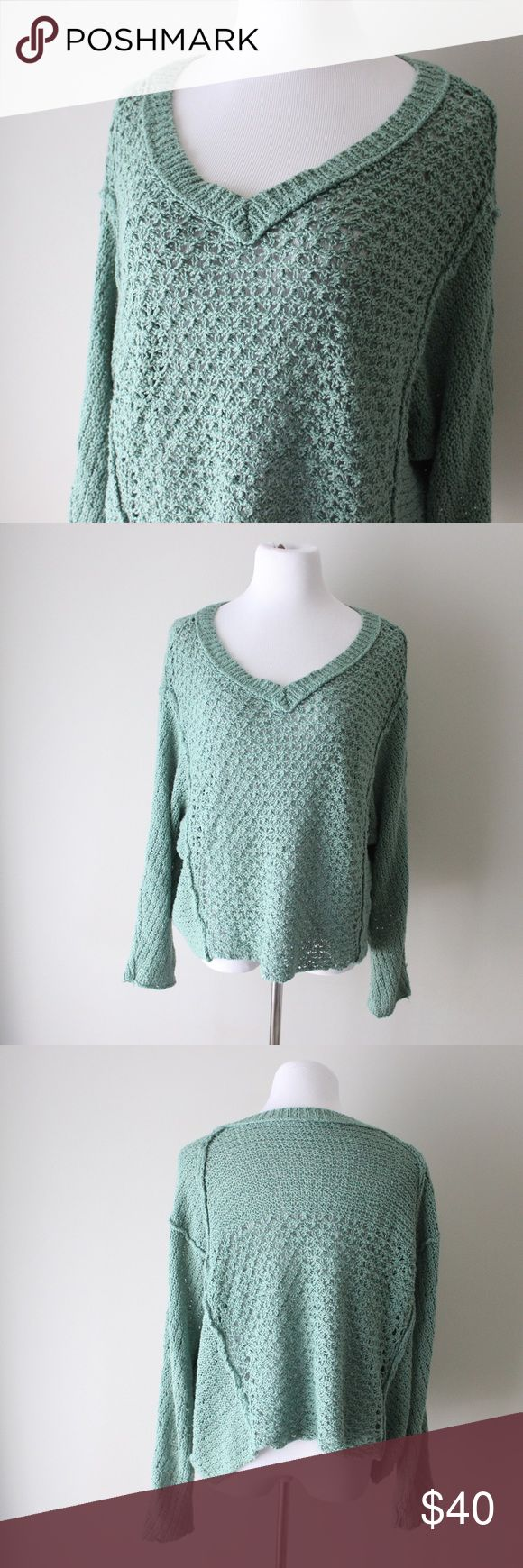 Free People Seafoam Loose Knit Sweater Free People seafoam green loose knit long sleeve sweater.  Fits true to size.  Shown on a size 4/6 mannequin.  In gently used good condition.  Measurements available upon request.  All orders ship same or next business day! Free People Sweaters