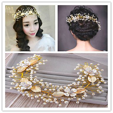 Golden+Leaf+Flower+Hair+Forehead+Jewelry+Fascinators+for+Wedding+Party+Decoration+–+GBP+£+10.58