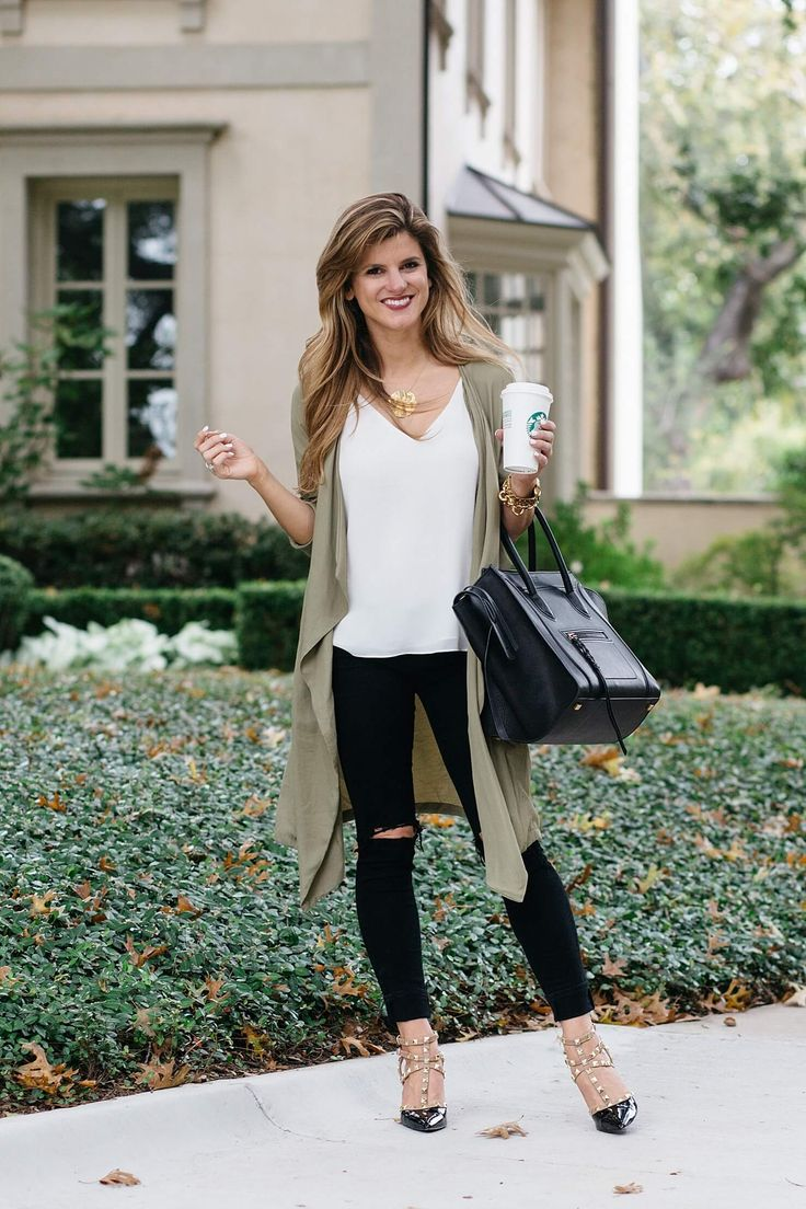 olive green trench outfit, snappy casual outfit with dupe valentino heels, monogram necklace, celine phantom tote, topshop white camisole, black distressed jeans, fall outfit