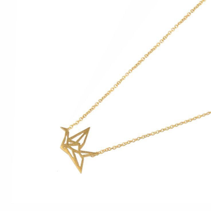 LUZ - Origami vogel ketting - goud