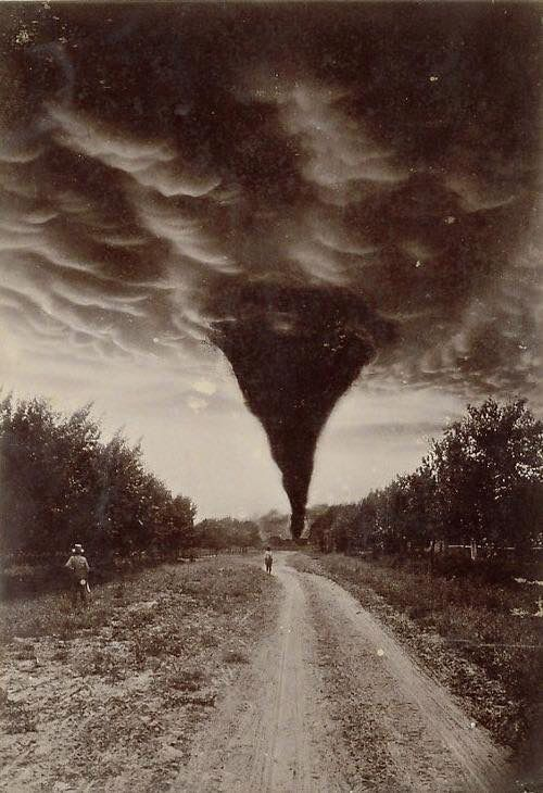 Oklahoma tornado captured in a 1898 photo.