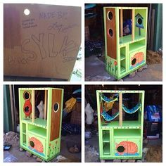 The finished Cat Hotel converted from an entertainment center