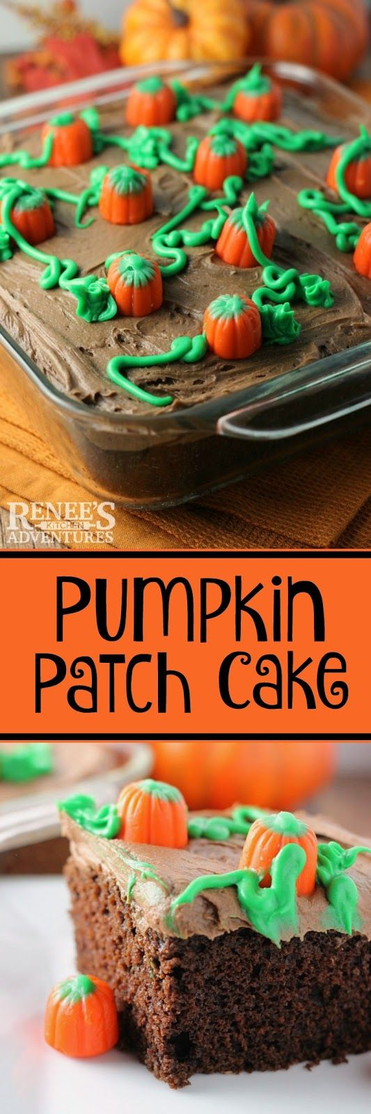 Pumpkin Patch Cake - easy recipe for homemade chocolate cake / chocolate frosting topped with a festive pumpkin patch.  Halloween and Thanksgiving.
