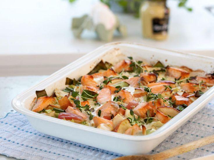 Fransk lakseform - minus purre, pluss gulrot, paprika og brokkoli. og en båt finhakket hvitløk
