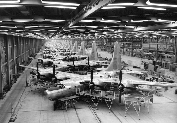 Mass production of Consolidated B-32 Dominator airplanes at Consolidated Aircraft Plant No. 4, near Fort Worth, Texas, during World War II