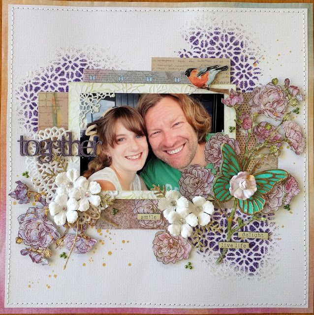 Artdeco Creations Brands: Together by Jo Simons  Featuring: ULT157761 - Ultimate Crafts L'aquarelle 12 x 12 paper pad ULT157802 - Ultimate Crafts Rolling Mesh 6 x 6 stencil - L'aquarelle collection ULT157771 - Ultimate Crafts Flowering Frame embossing folder L'aquarelle collection ULT157784 - Ultimate Crafts Watercolour Butterfly Decorative Die L'aquarelle collection