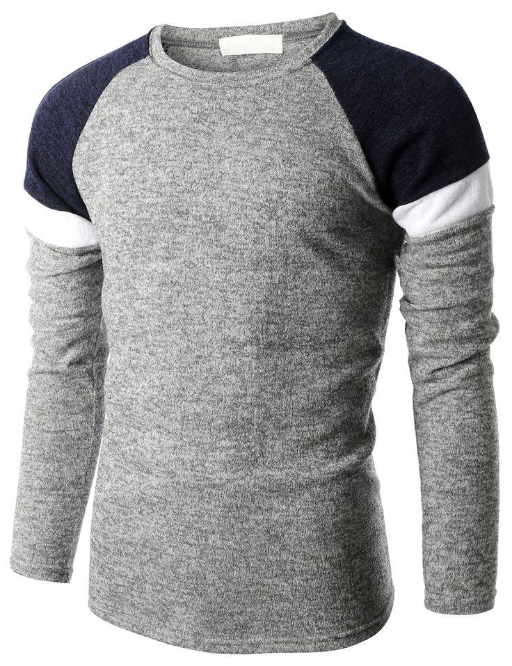 Doublju Mens Color Blocking Raglan Sleeve Crew Neck Sweater (KMOSWL069) #doublju