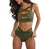 Prograce Women's Sexy Criss Cross High Waisted Bandage 2PCS Bikini Set, 2XL Army Green