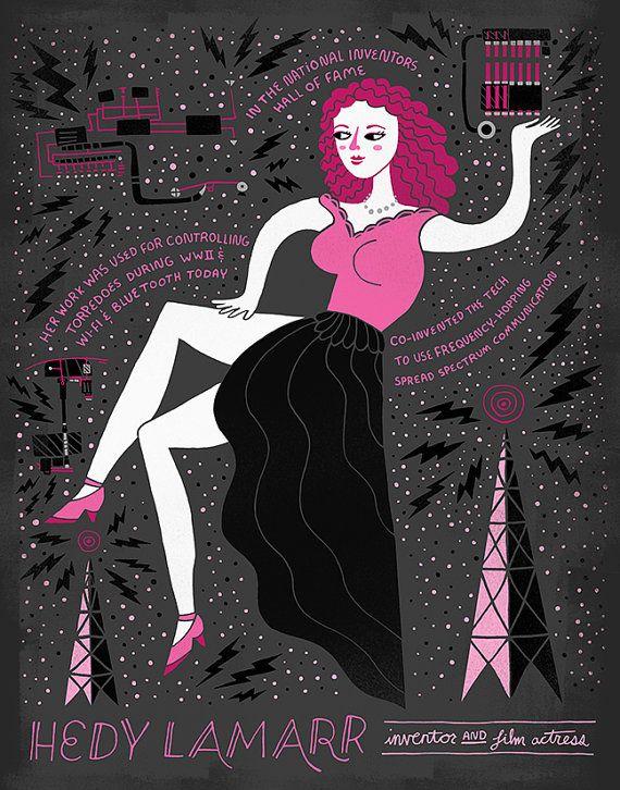 Women in Science: Hedy Lamarr by Rachelignotofsky on Etsy