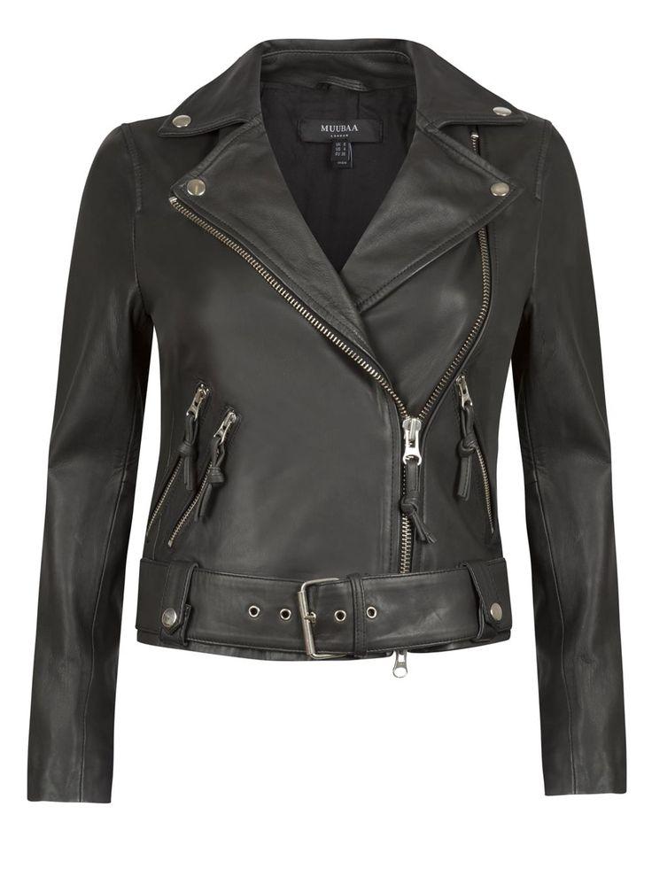 Mannging Black Leather Biker Jacket