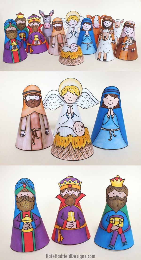 My Nativity printable nativity cone character craft - just print, cut out, roll and stick! A fun kids craft for Christmas! #katehadfielddesigns