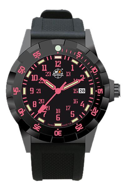 H3 Tactical Trooper Colors Tritium Watch Collection, Hot Pink Numerals, Black Dial with Bright PinkTritium, Signature Dive Strap