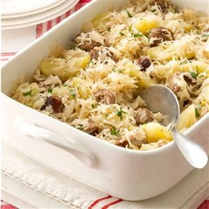 Sauerkraut Casserole Recipe -Mom brewed her own sauerkraut and, of course, the cabbage was from our big farm garden! Blending the kraut with spicy sausage and apples was Mom's favorite way to fix it, and I still love this country dish. —Rosemary Pryor, Pasadena, Maryland
