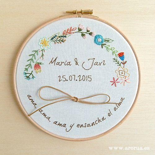 Wedding Art Embroidery Hoop Bastidor Porta Alianzas Bordado a mano www.arorua.es