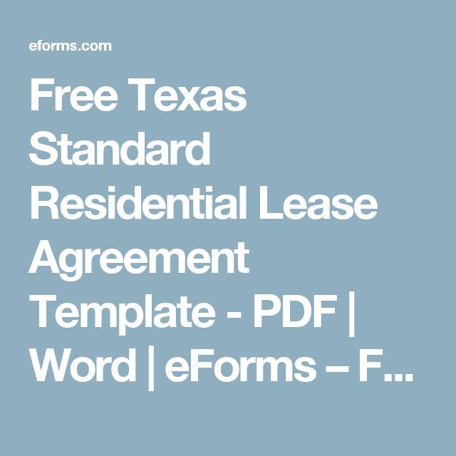 Free Texas Standard Residential Lease Agreement Template - PDF - texas residential lease agreement