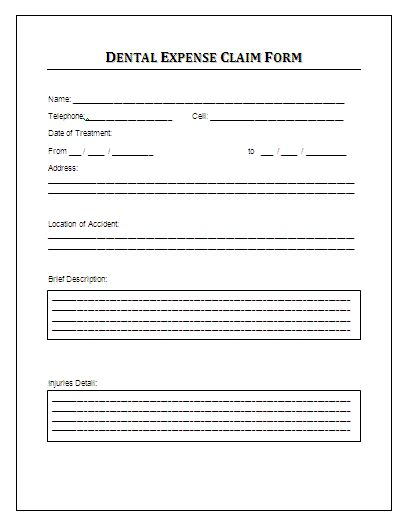 Sample dental expense claim form this form can be for Human resource forms and templates