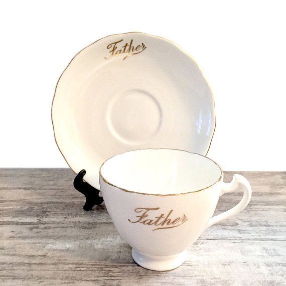 Vintage Father Tea cup and Saucer in White and Gold by Colclough #Colclough #ColcloughBoneChina #VintageTeacup #Teacup #TeacupandSaucer #Father #GiftsforDad #FathersDayGift