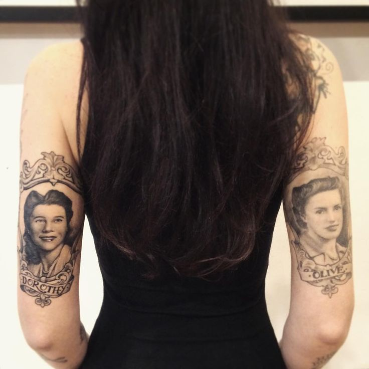 """It's been an honor to have had my friend @thekatvond tattoo my beautiful grandmothers portraits on me. My Grandma Dorothy (fresh tattoo!) on papa's side…"""
