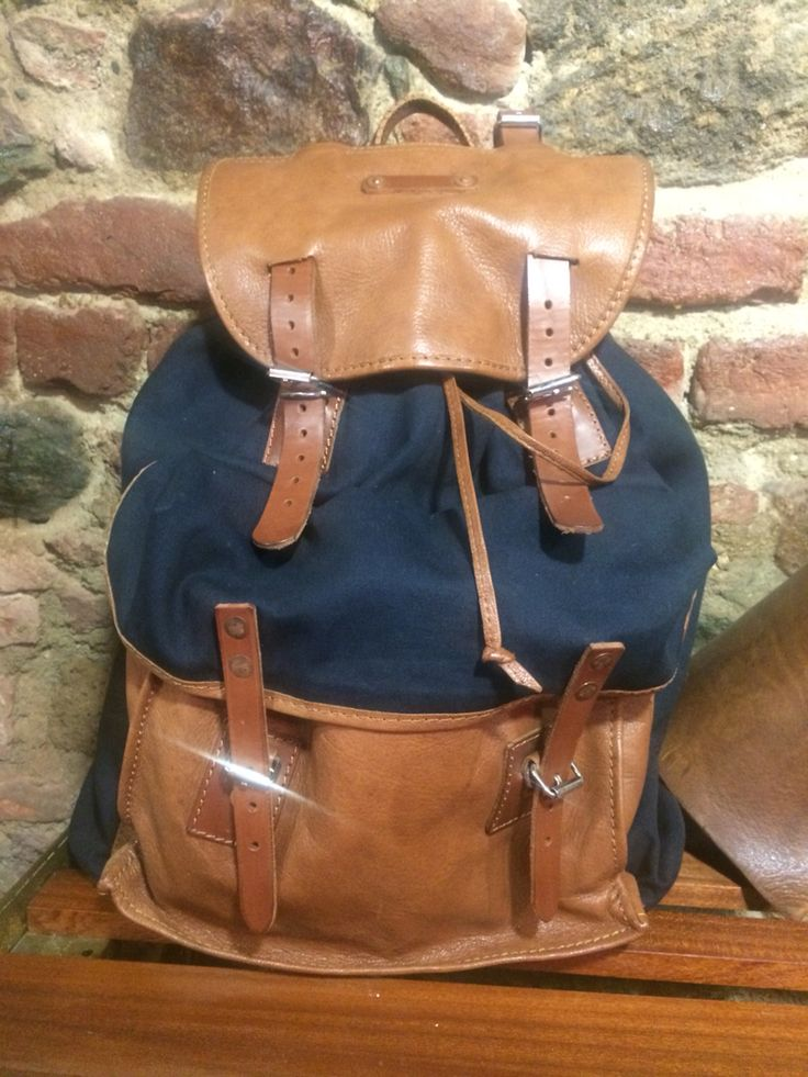 Thedileather bag, combination leather with denim