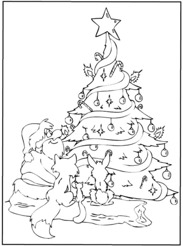Santa And Animals Under Christmas Tree Coloring Page