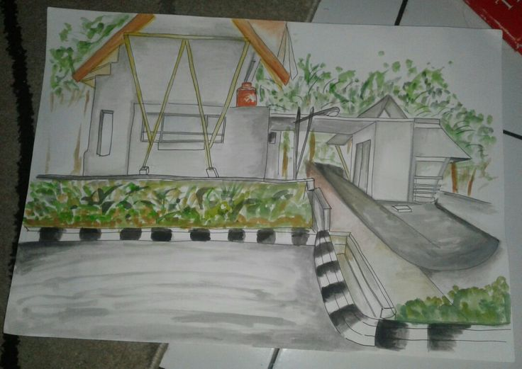 PERSPECTIVE DRAWING 1 VANISH POINT- SECURITY POST near KUTEK. BY Virania Syifa  #architecture #drawing #design #art #perspective #exercise