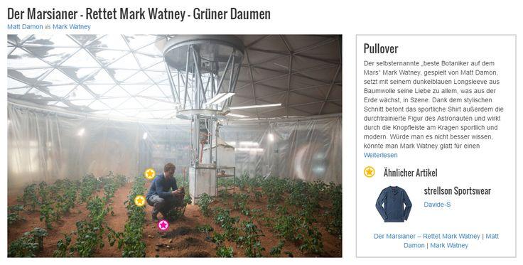 """Der selbsternannte """"beste Botaniker auf dem Mars"""" Mark Watney, gespielt von Matt Damon, setzt mit seinem dunkelblauen Longsleeve aus Baumwolle seine Liebe zu allem, was aus der Erde wächst, in Szene. Dank dem stylischen Schnitt betont das sportliche Shirt außerdem die durchtrainierte Figur des Astronauten und wirkt durch die Knopfleiste am Kragen sportlich und modern. Würde man es nicht besser wissen, könnte man Mark Watney glatt für einen passionierten Hobbygärtner im lässigen…"""